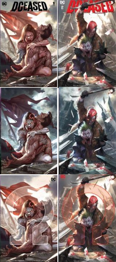 Dceased Midtown Comics Variant Connecting Covers InHyuk Lee Dceased #1 Death of Superman Zombie Lois and Dceased #2 Zombie Jason Todd crowbars Joker