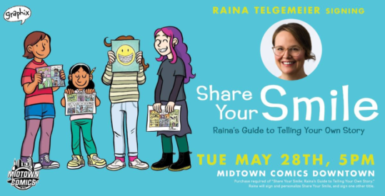 Midtown Comics Book Expo Raina Telgemeier Share your Smile, Cartoonist Young Adult Graphic Novel Signing