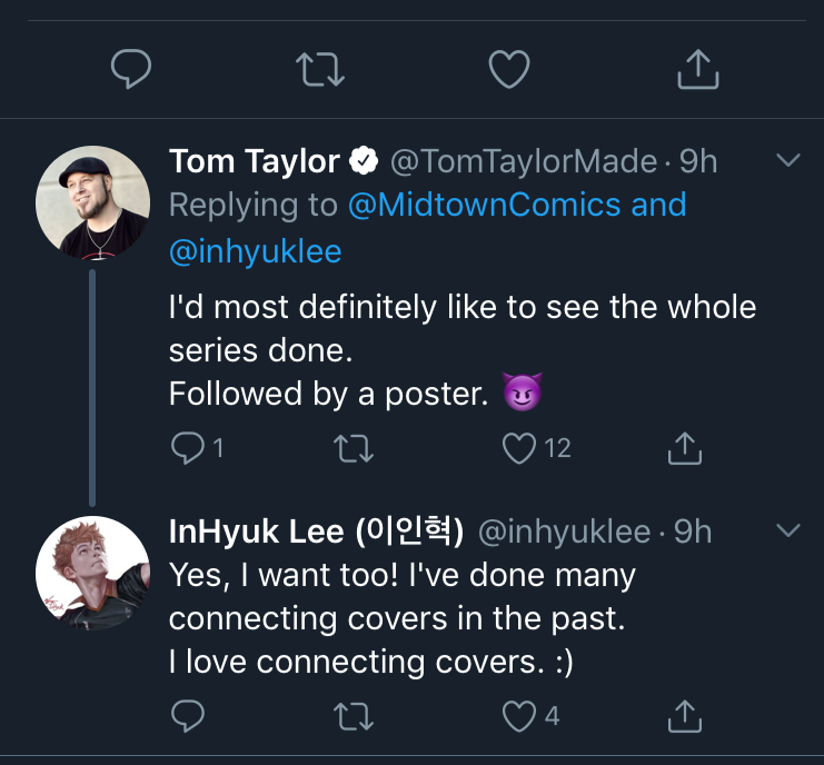 Tom Taylor InHyuk Lee Twitter conversation on Midtown Comics Dceased Variant connecting covers
